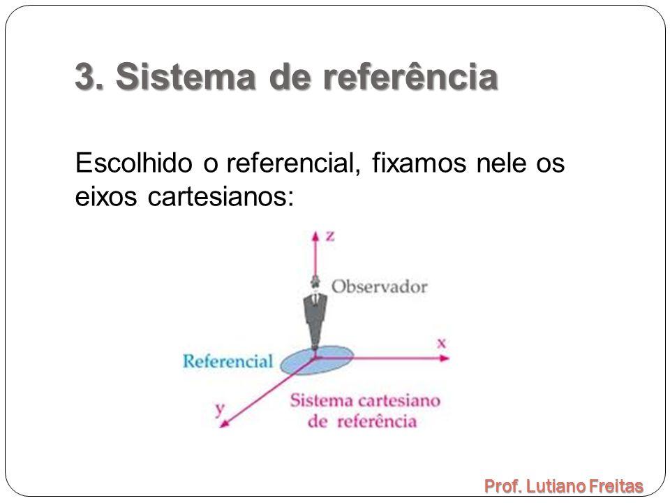 3. Sistema de referência Escolhido o referencial, fixamos nele os eixos cartesianos: Prof.