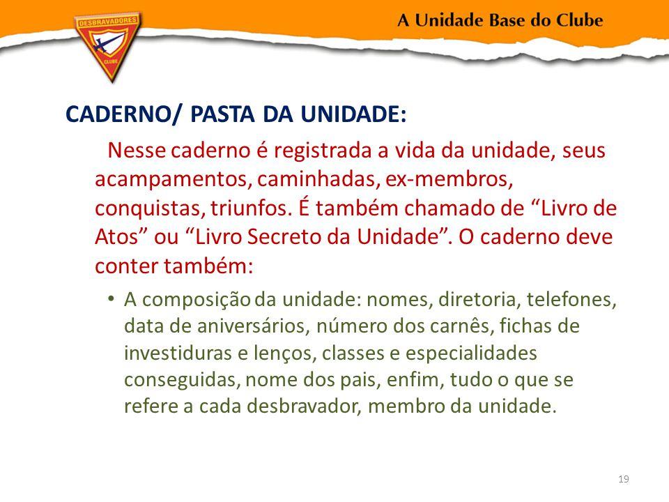 CADERNO/ PASTA DA UNIDADE: