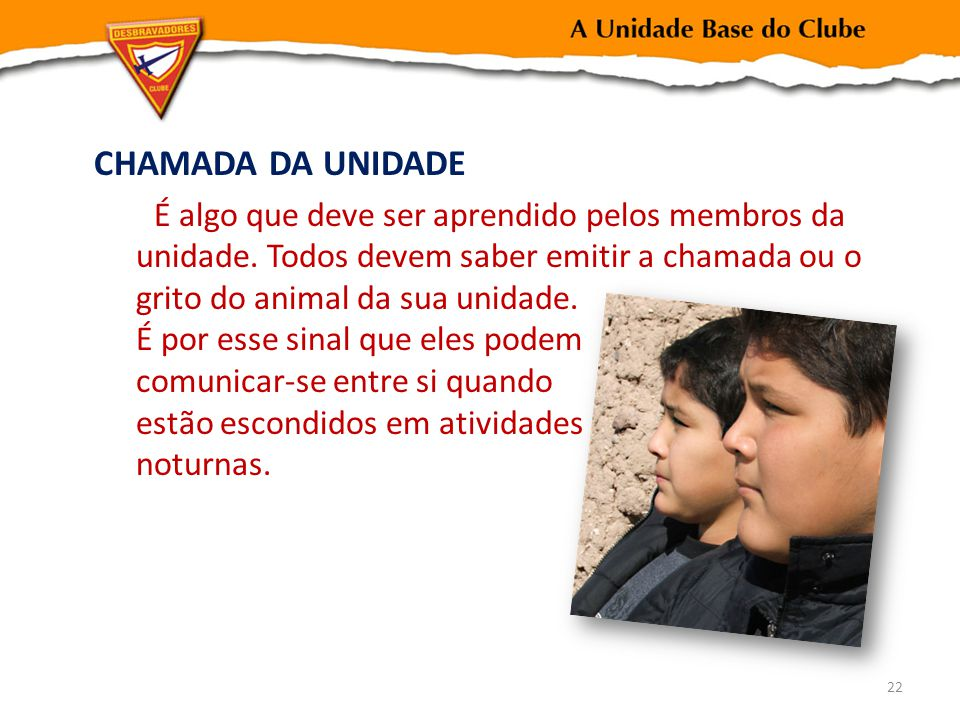 CHAMADA DA UNIDADE