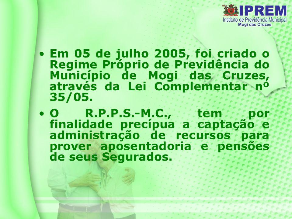 Em 05 de julho 2005, foi criado o Regime Próprio de Previdência do Município de Mogi das Cruzes, através da Lei Complementar nº 35/05.
