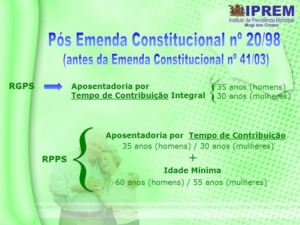 { { Pós Emenda Constitucional nº 20/98