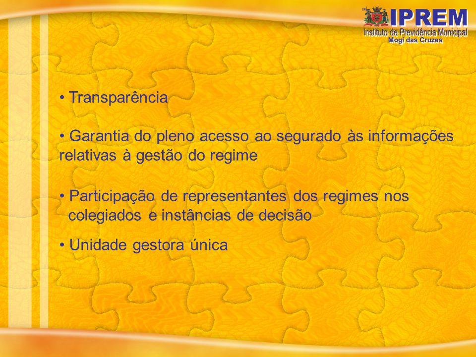 Transparência Garantia do pleno acesso ao segurado às informações relativas à gestão do regime.