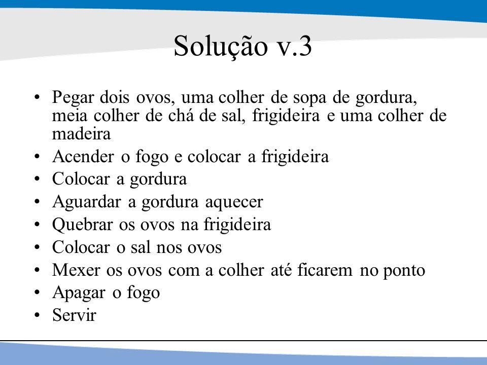 Solução v.3 Pegar dois ovos, uma colher de sopa de gordura, meia colher de chá de sal, frigideira e uma colher de madeira.