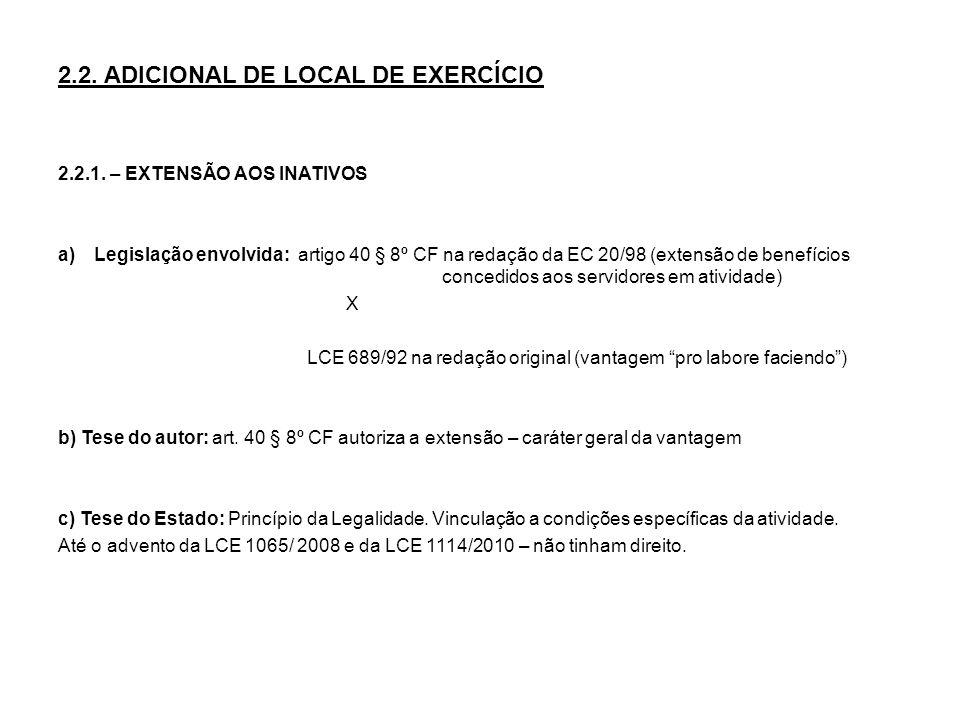 2.2. ADICIONAL DE LOCAL DE EXERCÍCIO