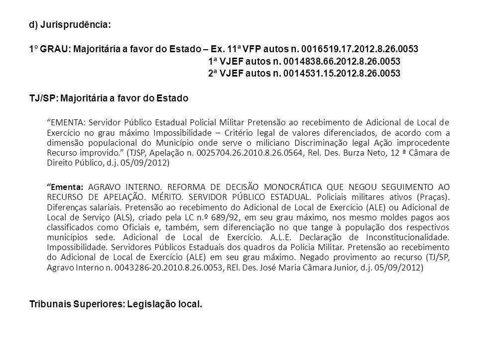 d) Jurisprudência: 1º GRAU: Majoritária a favor do Estado – Ex. 11ª VFP autos n. 0016519.17.2012.8.26.0053.