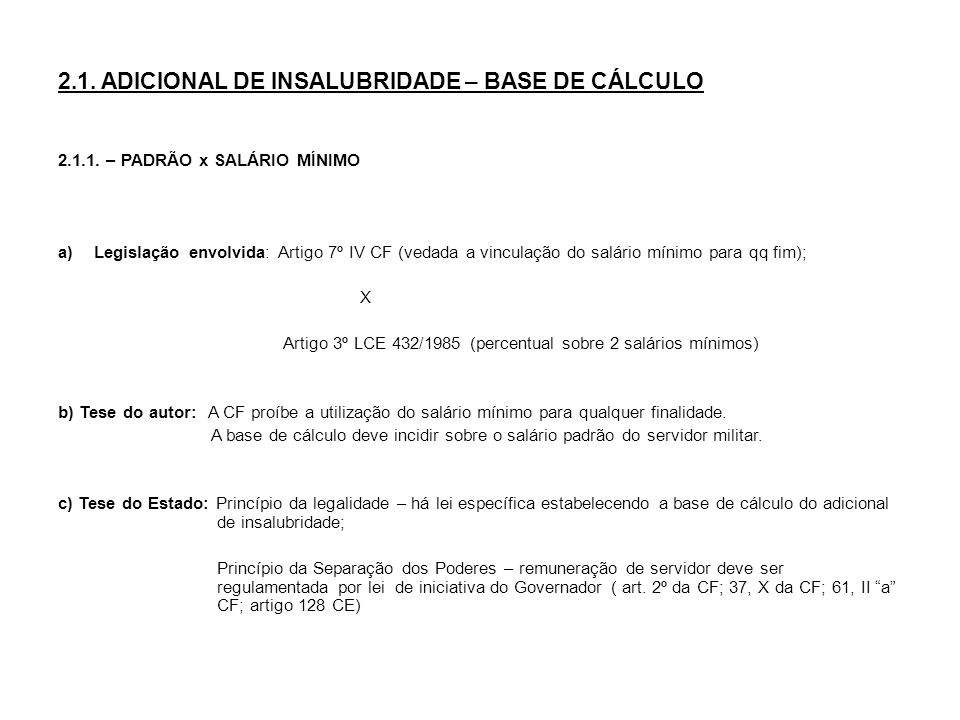 2.1. ADICIONAL DE INSALUBRIDADE – BASE DE CÁLCULO