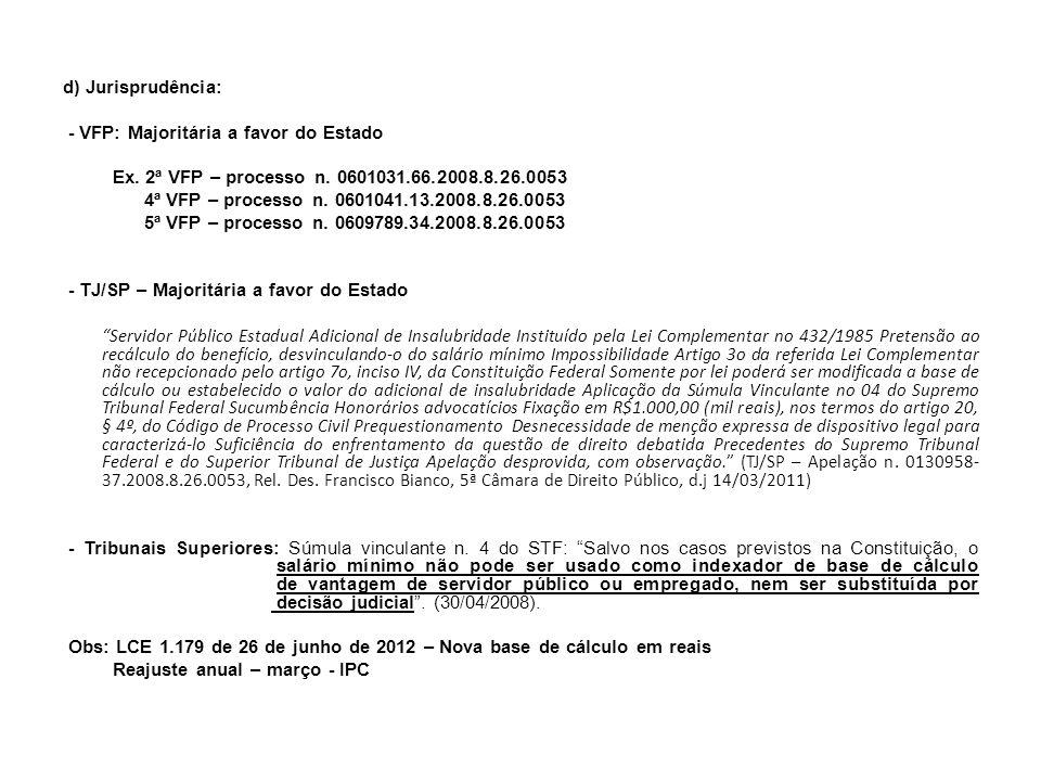 d) Jurisprudência: - VFP: Majoritária a favor do Estado. Ex. 2ª VFP – processo n. 0601031.66.2008.8.26.0053.