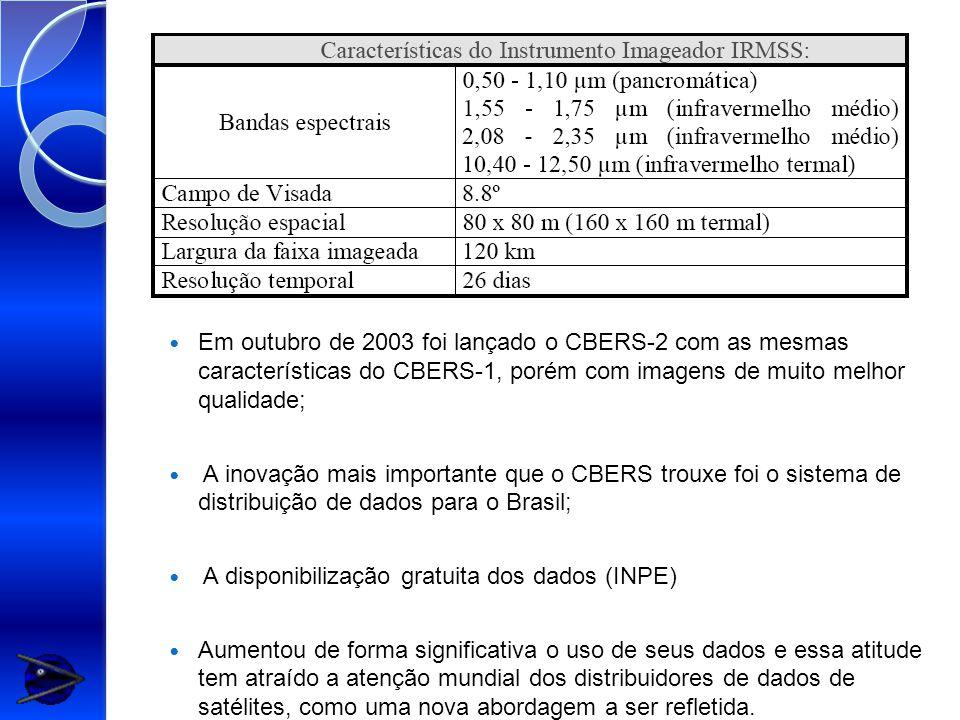 Em outubro de 2003 foi lançado o CBERS-2 com as mesmas características do CBERS-1, porém com imagens de muito melhor qualidade;