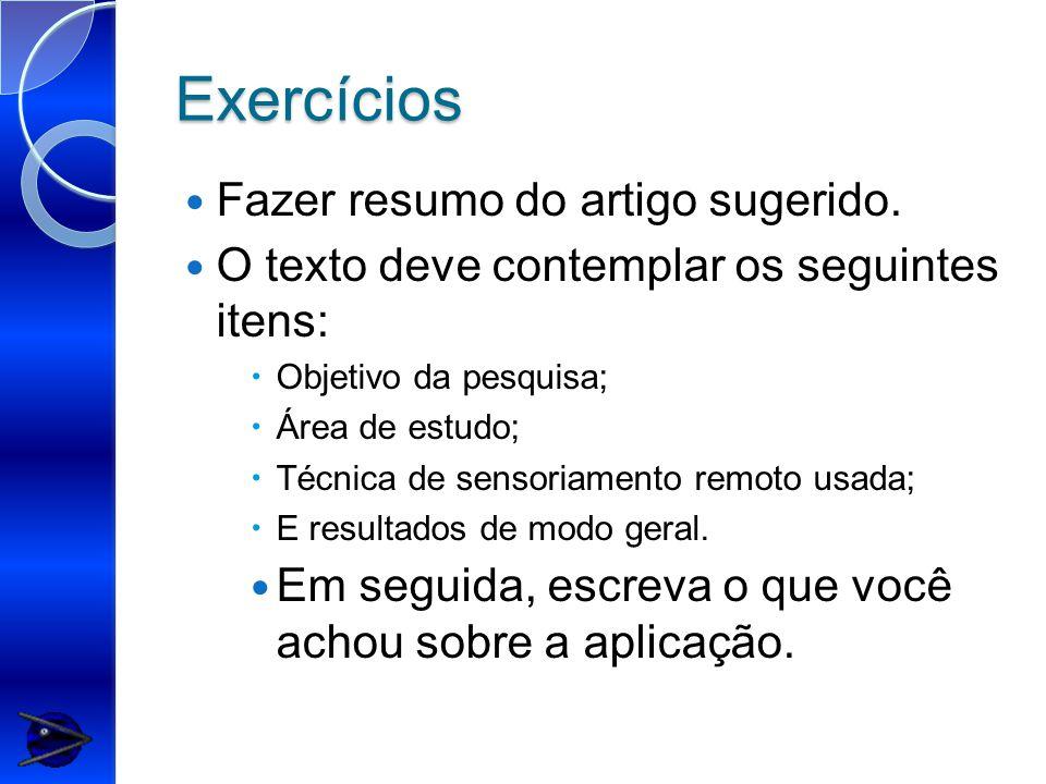 Exercícios Fazer resumo do artigo sugerido.