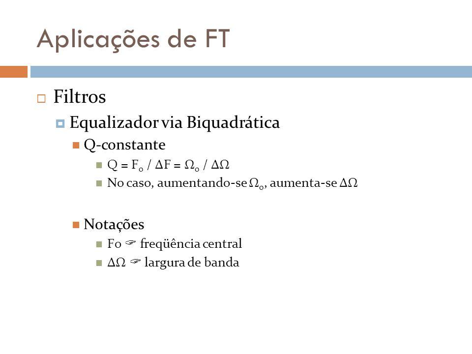 Aplicações de FT Filtros Equalizador via Biquadrática Q-constante