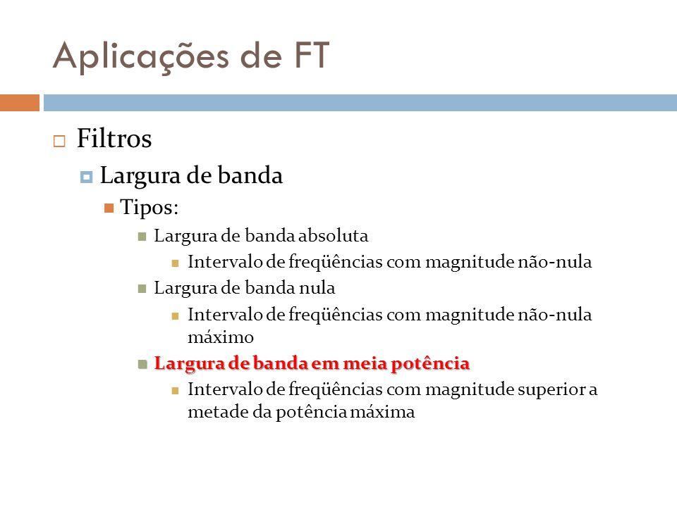 Aplicações de FT Filtros Largura de banda Tipos: