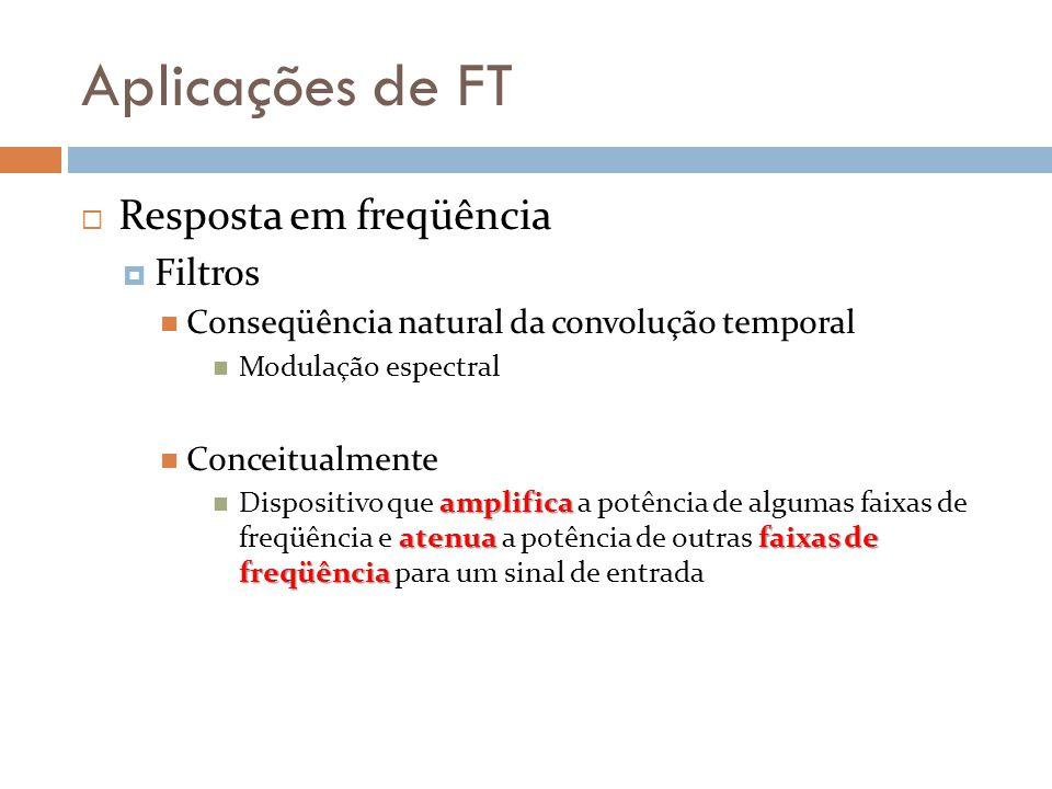 Aplicações de FT Resposta em freqüência Filtros