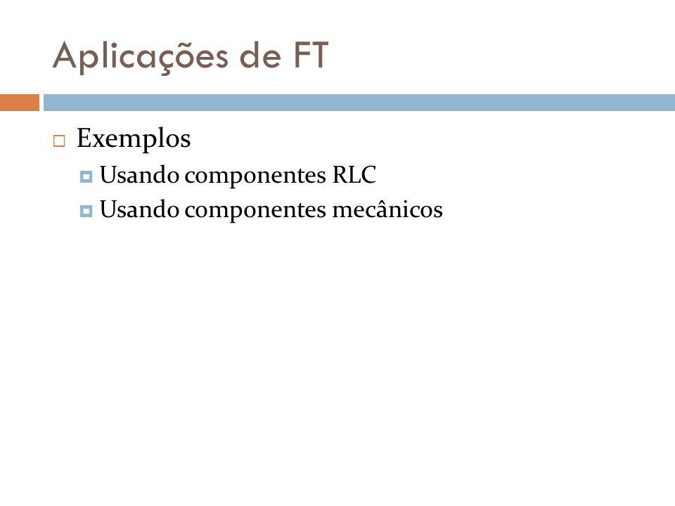 Aplicações de FT Exemplos Usando componentes RLC
