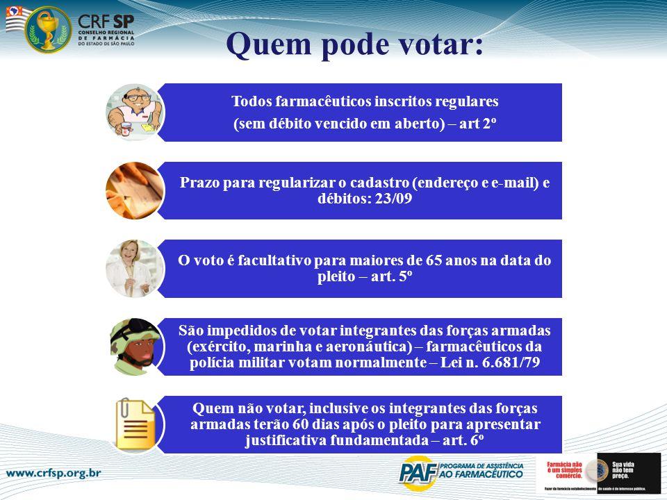 Quem pode votar: Todos farmacêuticos inscritos regulares