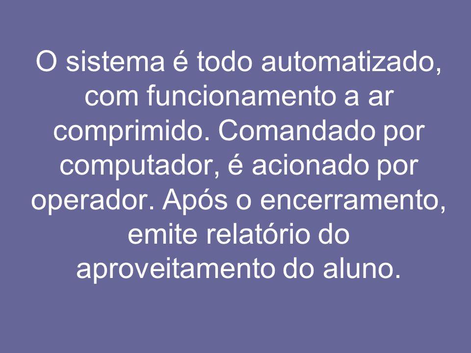 O sistema é todo automatizado, com funcionamento a ar comprimido