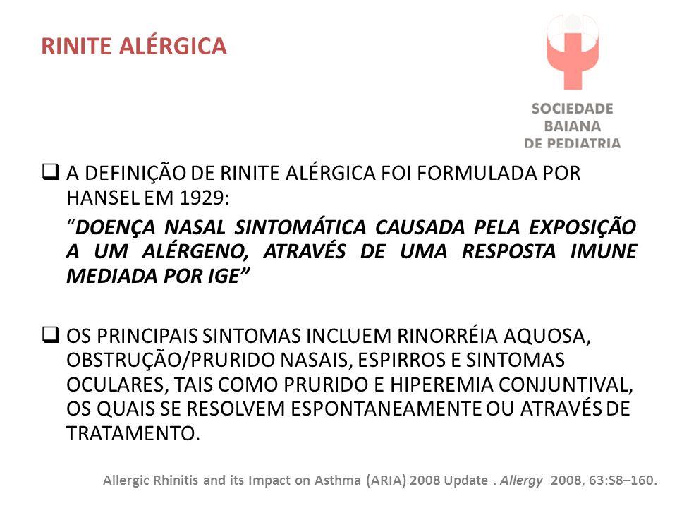 RINITE ALÉRGICA A definição de rinite alérgica foi formulada por Hansel em 1929: