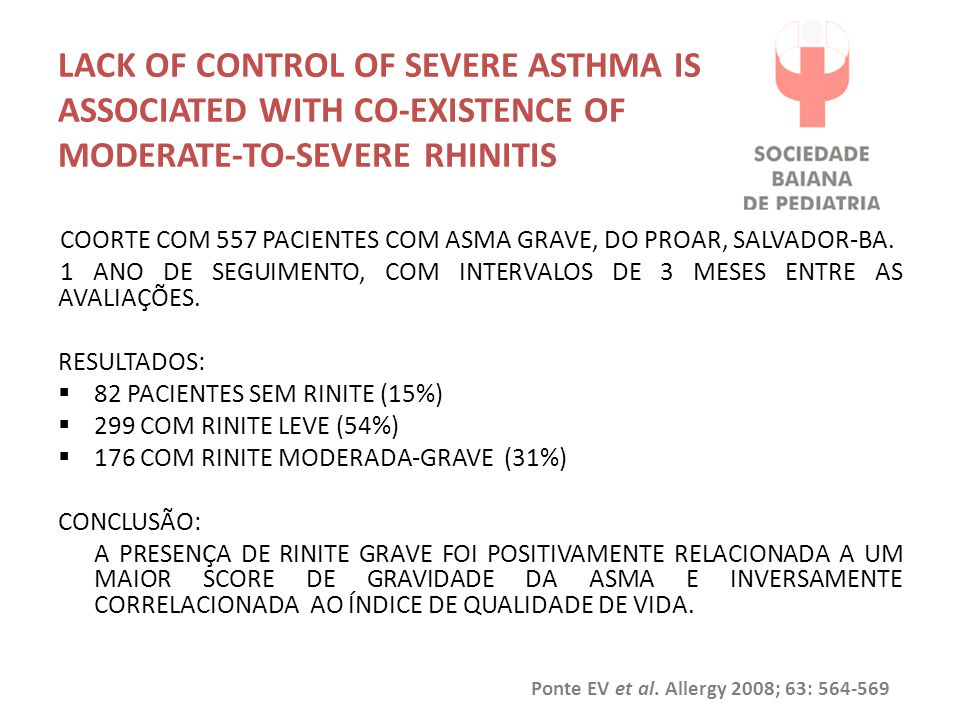 Lack of control of severe asthma is associated with co-existence of moderate-to-severe rhinitis