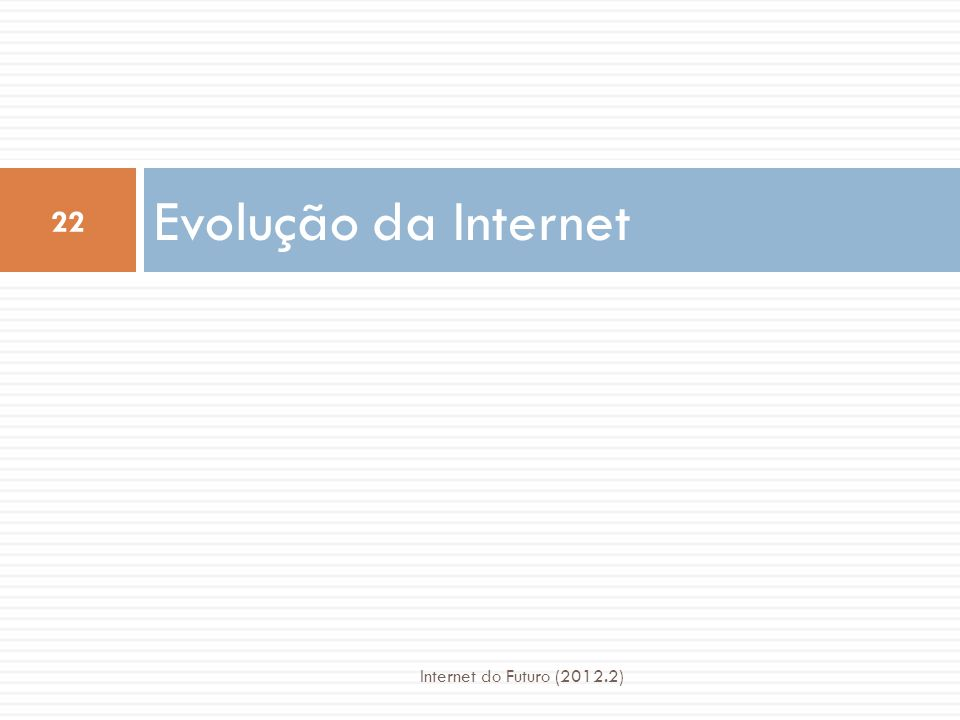 Evolução da Internet Internet do Futuro (2012.2)