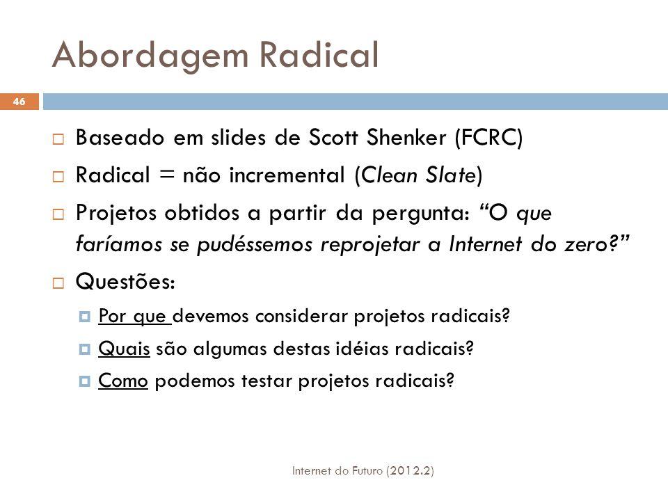 Abordagem Radical Baseado em slides de Scott Shenker (FCRC)