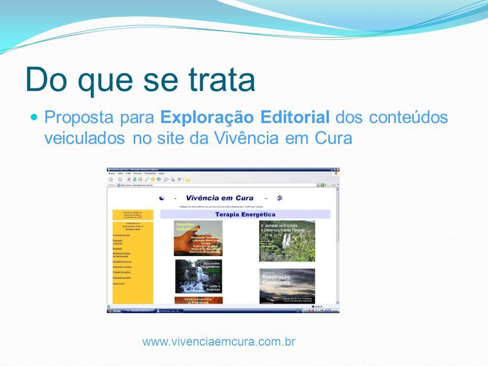 Do que se trata Proposta para Exploração Editorial dos conteúdos veiculados no site da Vivência em Cura.