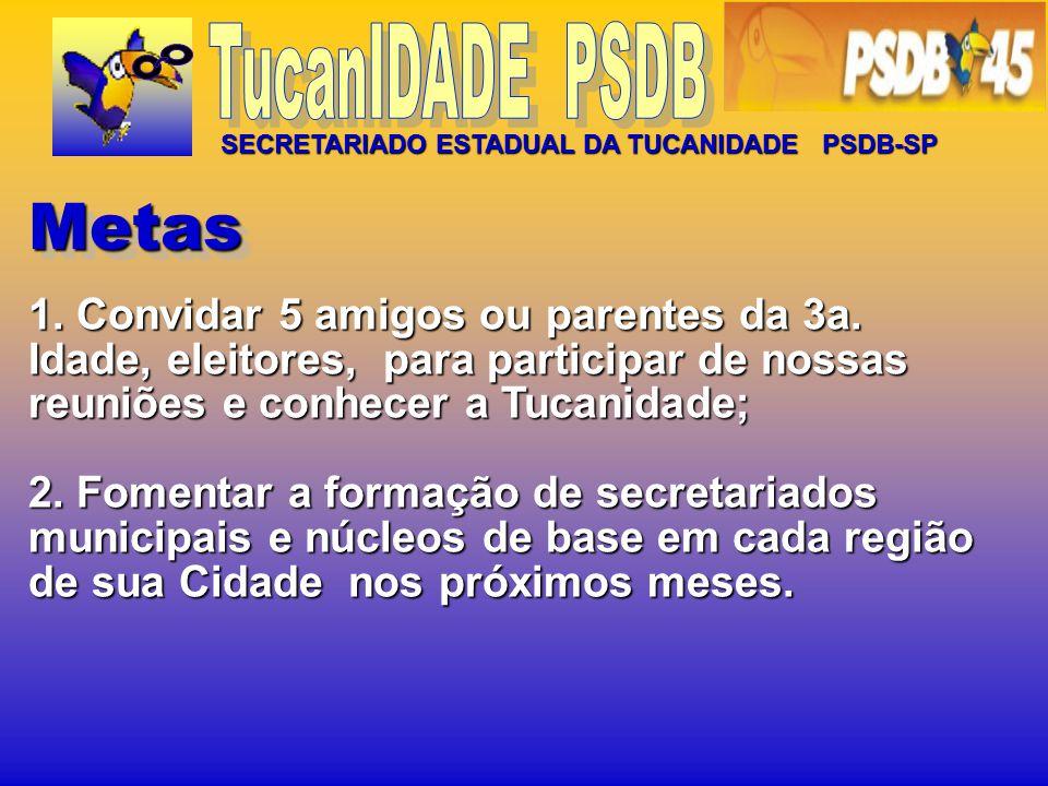 TucanIDADE PSDB SECRETARIADO ESTADUAL DA TUCANIDADE PSDB-SP. Metas.