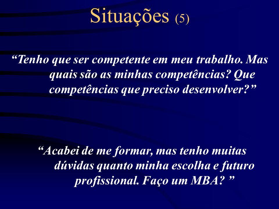 Situações (5) Tenho que ser competente em meu trabalho. Mas quais são as minhas competências Que competências que preciso desenvolver