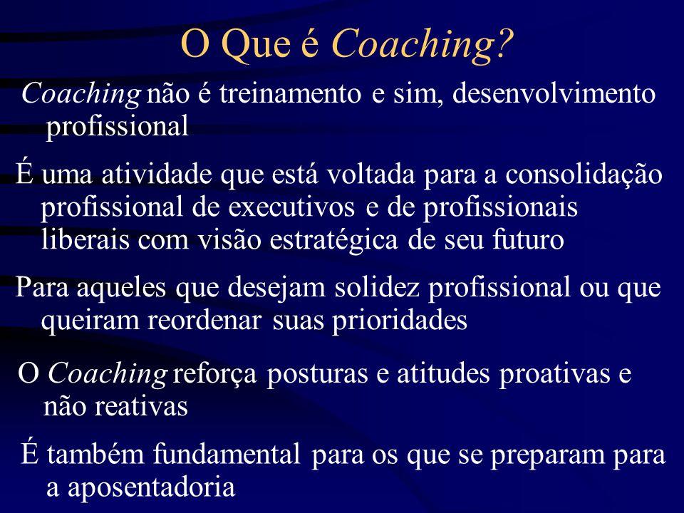 O Que é Coaching Coaching não é treinamento e sim, desenvolvimento profissional.
