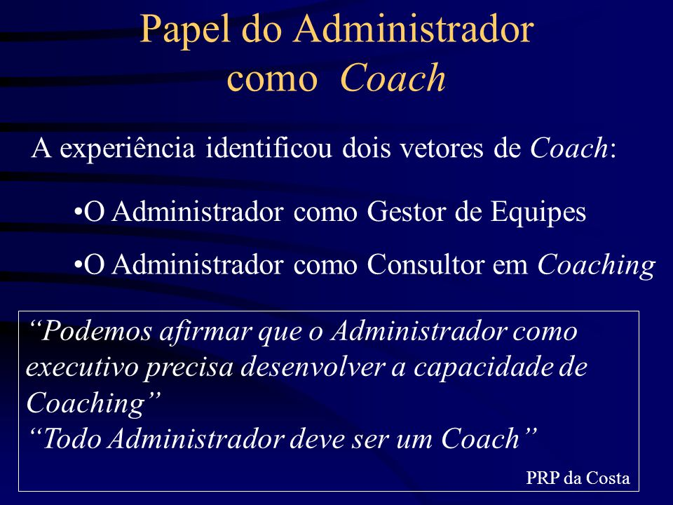 Papel do Administrador como Coach