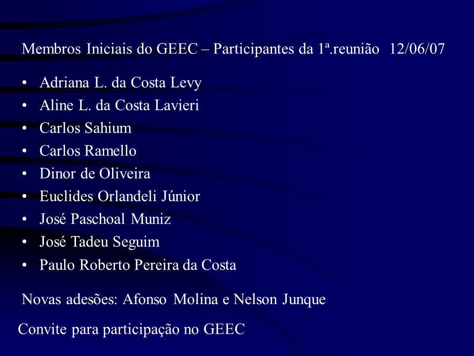 Membros Iniciais do GEEC – Participantes da 1ª.reunião 12/06/07