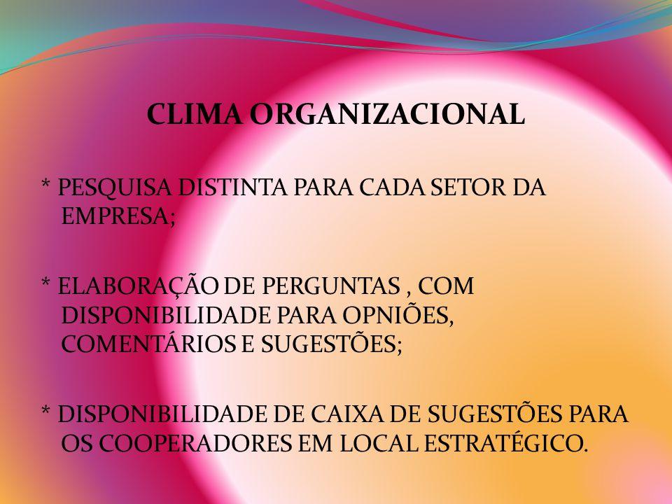 CLIMA ORGANIZACIONAL * PESQUISA DISTINTA PARA CADA SETOR DA EMPRESA;