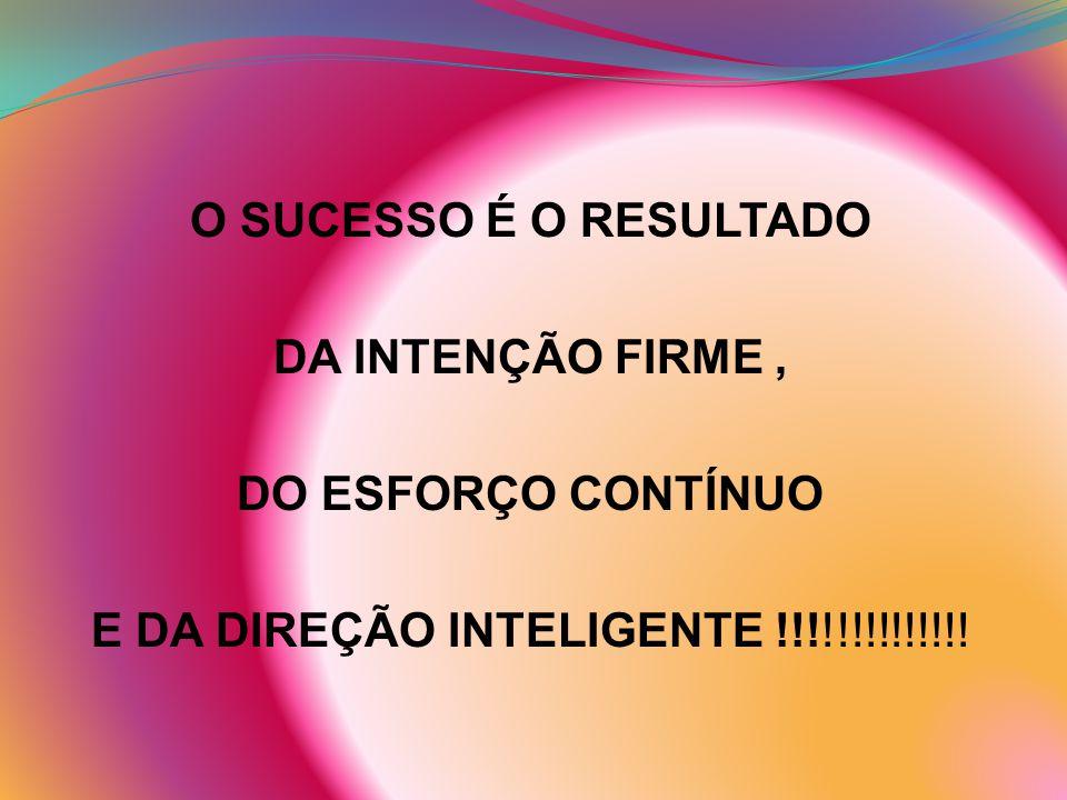 O SUCESSO É O RESULTADO DA INTENÇÃO FIRME , DO ESFORÇO CONTÍNUO E DA DIREÇÃO INTELIGENTE !!!!!!!!!!!!!!