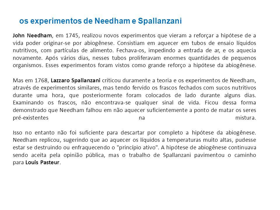 os experimentos de Needham e Spallanzani