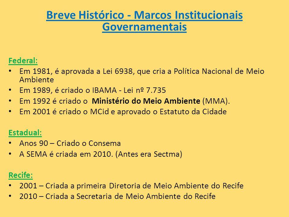 Breve Histórico - Marcos Institucionais Governamentais