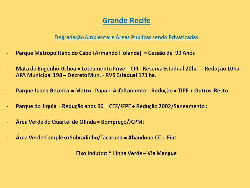 Grande Recife Degradação Ambiental e Áreas Públicas sendo Privatizadas: Parque Metropolitano do Cabo (Armando Holanda) = Cessão de 99 Anos.