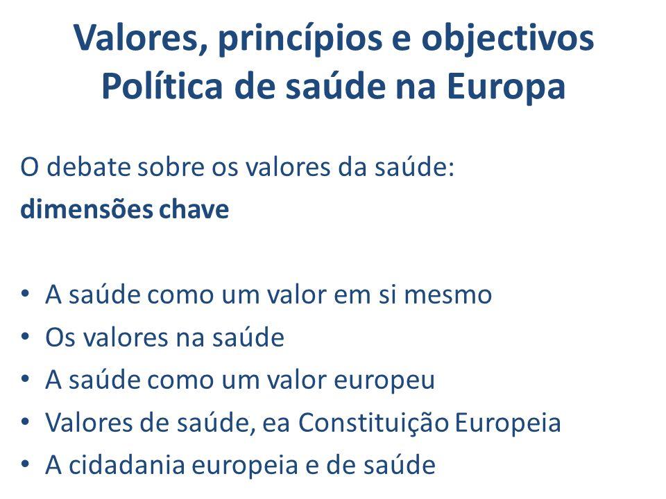 Valores, princípios e objectivos Política de saúde na Europa