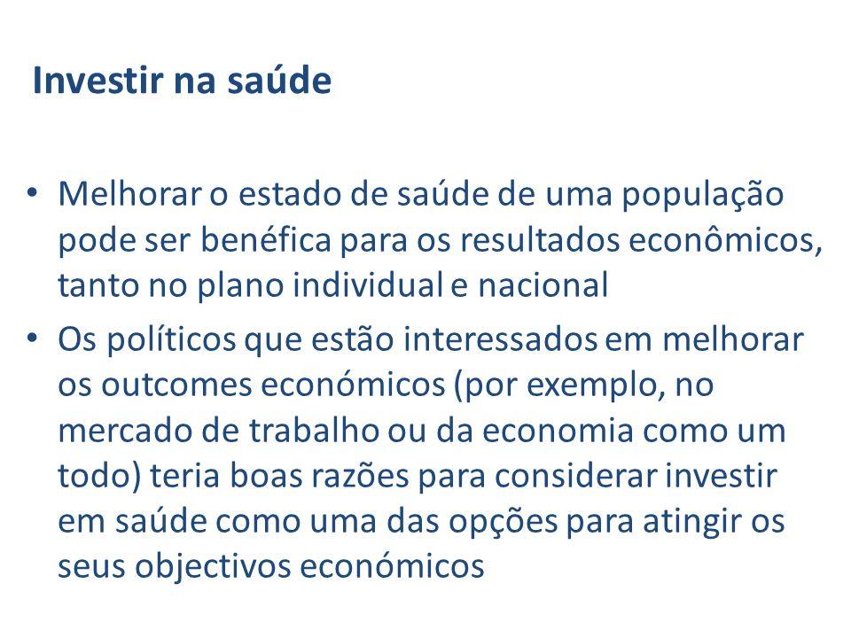 Investir na saúde Melhorar o estado de saúde de uma população pode ser benéfica para os resultados econômicos, tanto no plano individual e nacional.