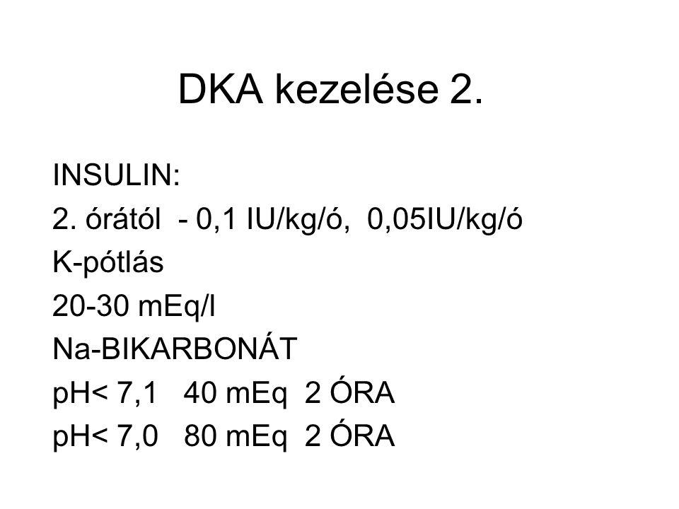 DKA kezelése 2. INSULIN: 2. órától - 0,1 IU/kg/ó, 0,05IU/kg/ó K-pótlás
