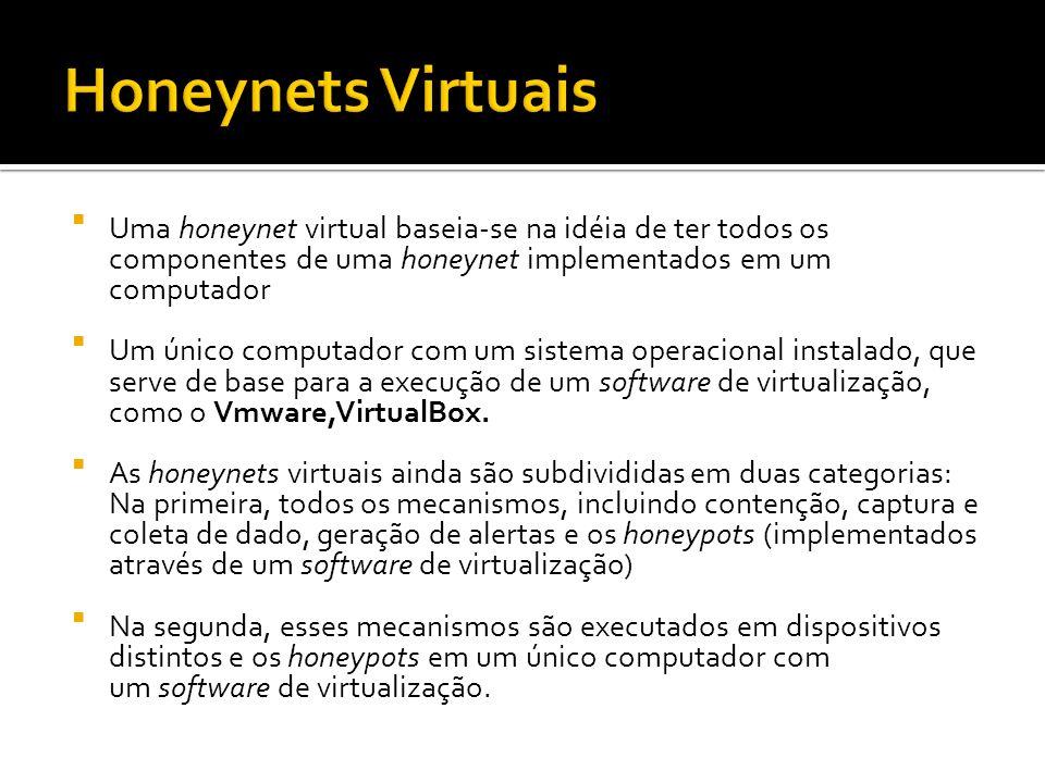 Honeynets Virtuais Uma honeynet virtual baseia-se na idéia de ter todos os componentes de uma honeynet implementados em um computador.