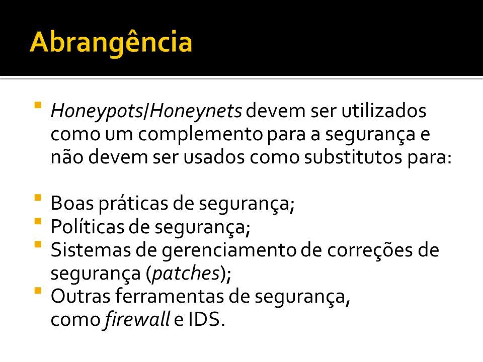 Abrangência Honeypots/Honeynets devem ser utilizados como um complemento para a segurança e não devem ser usados como substitutos para: