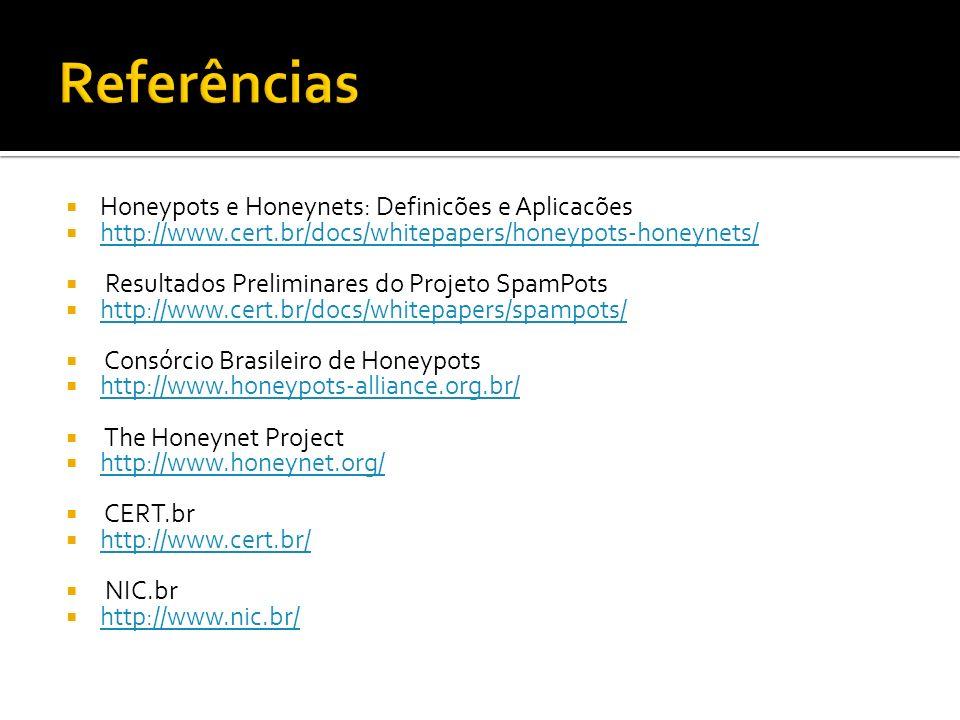 Referências Honeypots e Honeynets: Definicões e Aplicacões