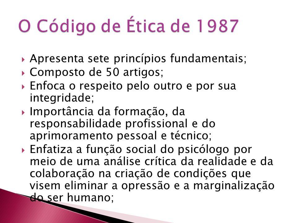 O Código de Ética de 1987 Apresenta sete princípios fundamentais;