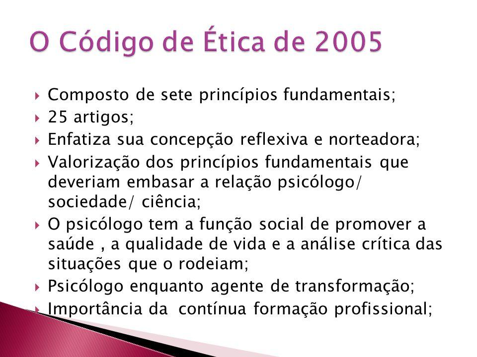 O Código de Ética de 2005 Composto de sete princípios fundamentais;