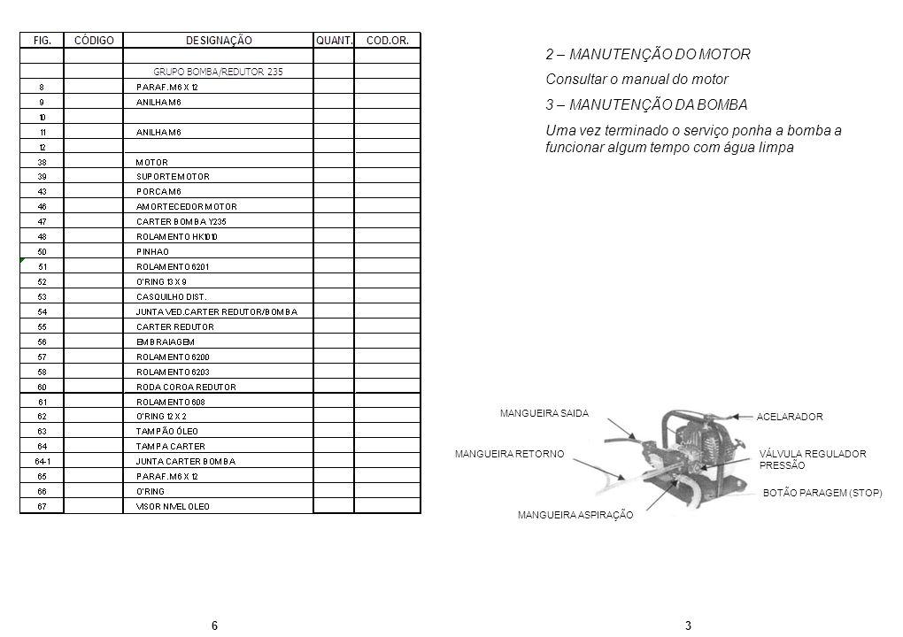 Consultar o manual do motor 3 – MANUTENÇÃO DA BOMBA