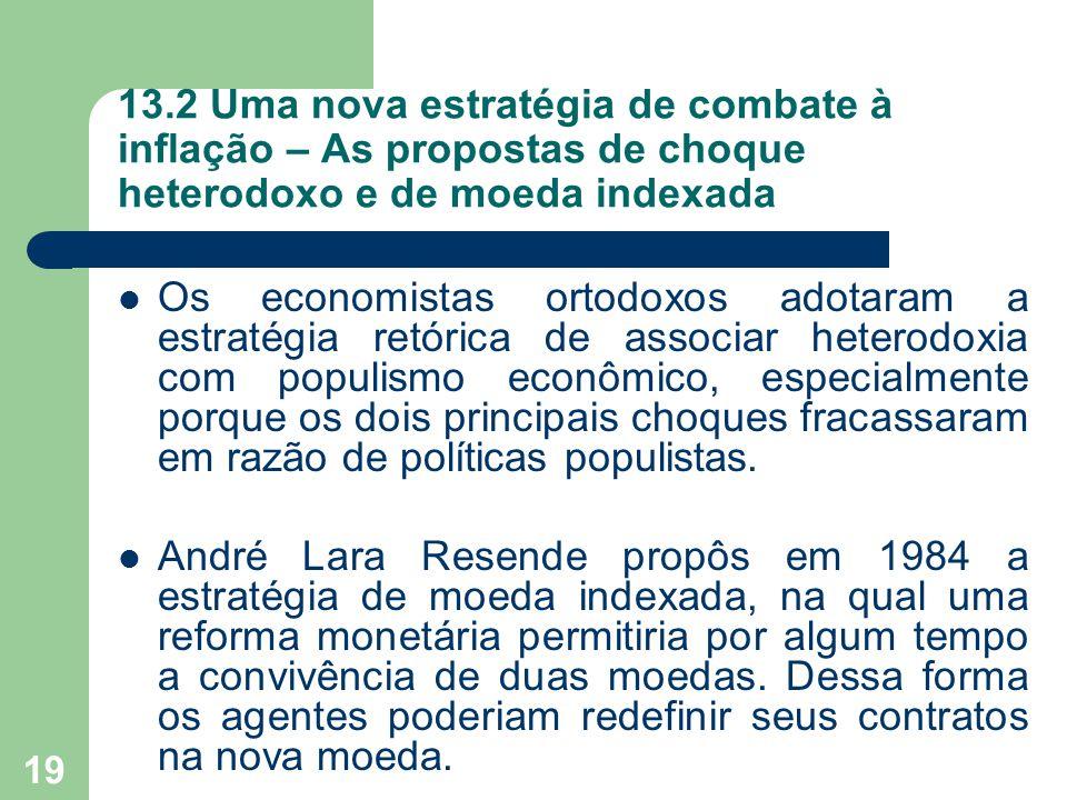 13.2 Uma nova estratégia de combate à inflação – As propostas de choque heterodoxo e de moeda indexada