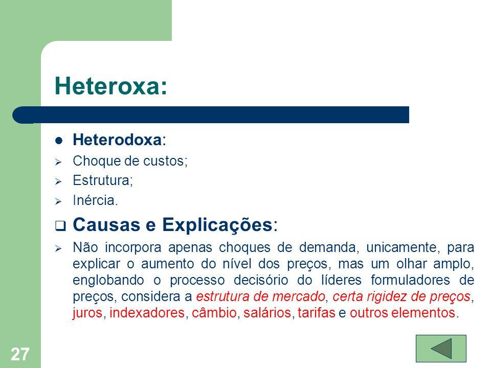 Heteroxa: Causas e Explicações: Heterodoxa: Choque de custos;