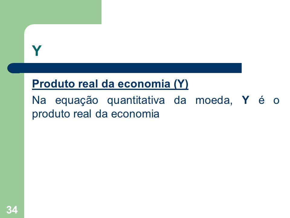 Y Produto real da economia (Y) Na equação quantitativa da moeda, Y é o produto real da economia