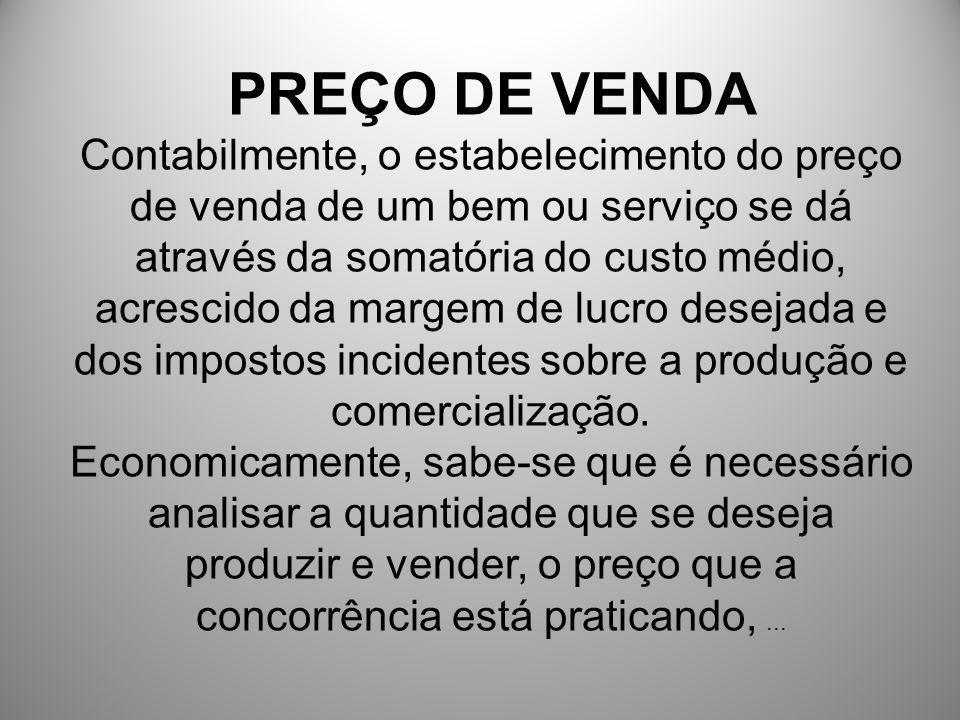 PREÇO DE VENDA