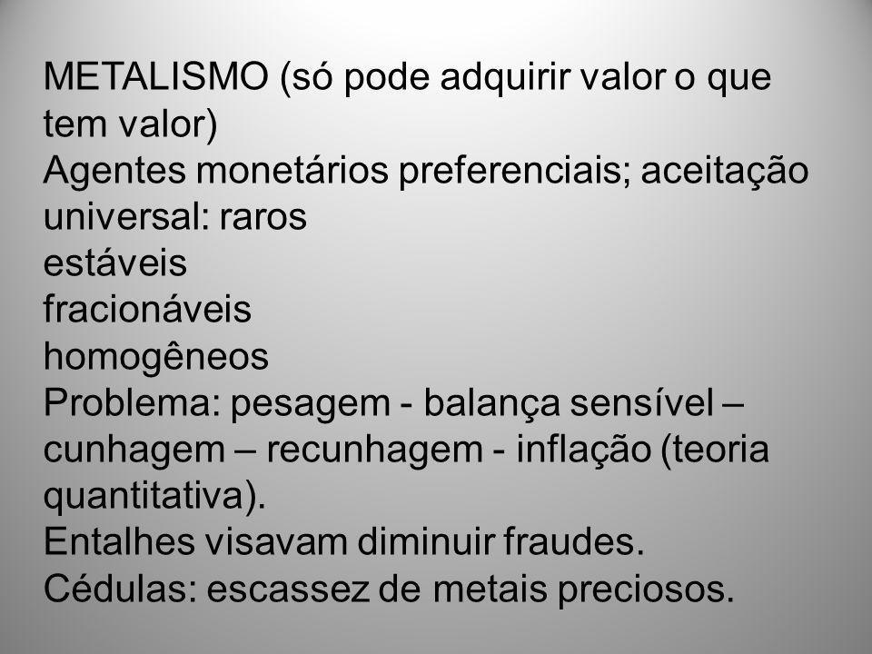 METALISMO (só pode adquirir valor o que tem valor)