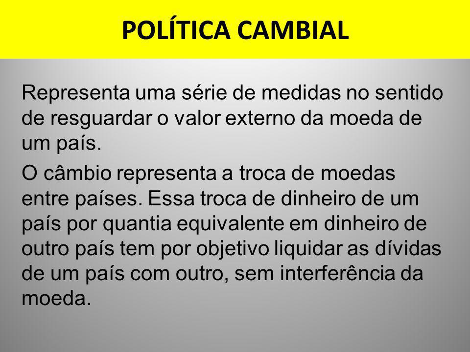 POLÍTICA CAMBIAL Representa uma série de medidas no sentido de resguardar o valor externo da moeda de um país.
