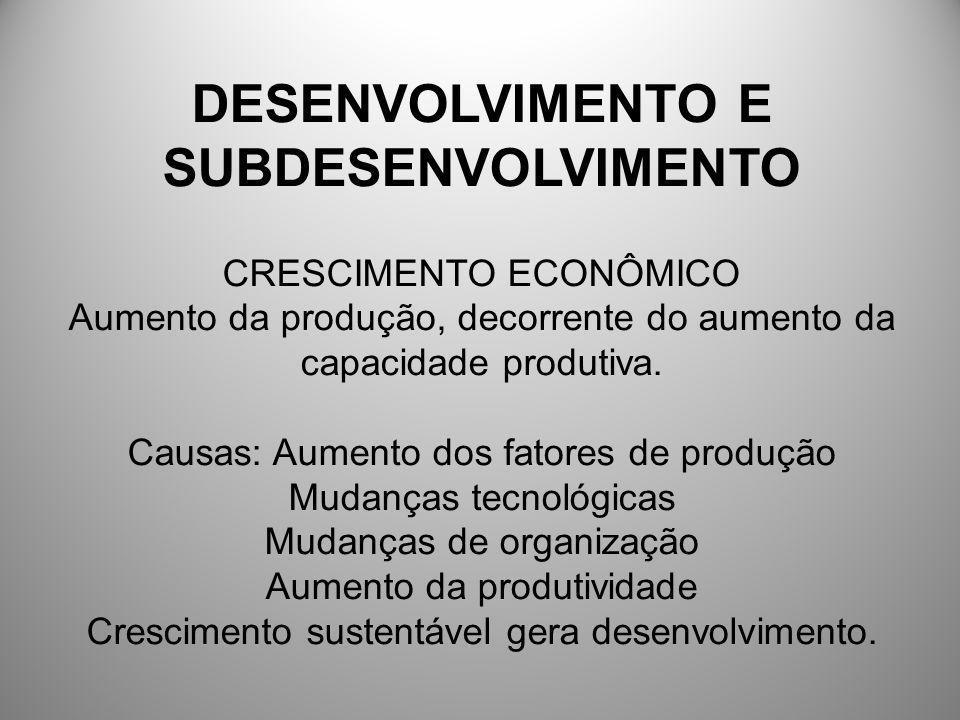 DESENVOLVIMENTO E SUBDESENVOLVIMENTO